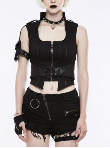 Stand-Up Collar Front Metal Zipper Waist Leather Hasp Shoulder Loop Sharp Corner Hem Black Punk Vest