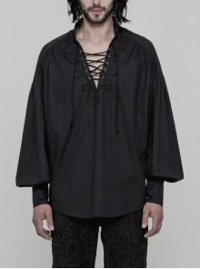 V-Neck Metal Eyelets Lace-Up Lantern Sleeve Black Gothic Shirt