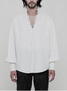 V-Neck Metal Eyelets Lace-Up Lantern Sleeve White Gothic Shirt