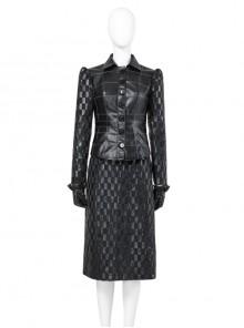 Cruella Black Leather Skirt Suit Halloween Cosplay Costume Set