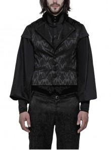 Black Jacquard V-Neck Front Button Slit Rear Hem Gothic Vest