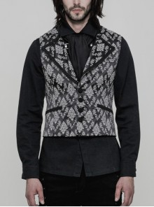 Black And White Jacquard V-Neck Front Button Slit Rear Hem Gothic Vest