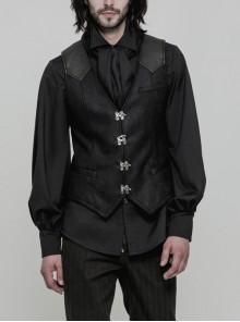 V-Neck Front Metal Hasp Back Waist Leather Hasp Black Punk Waistcoat