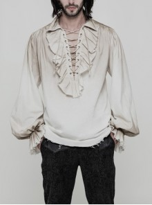 Lace-Up Collar Front Chest Frill Lantern Sleeve Rough Selvedge Cuff White Punk Spray Painting Shirt