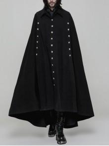 Front Metal Button Slit Long Sleeve Irregular Hem Black Gothic Dark Weave Woven Cloak