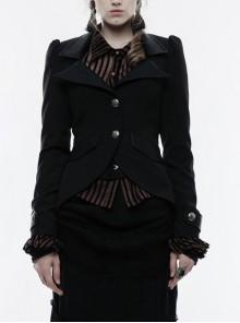 Front Metal Button Long Sleeve Vented Flap Slit Hem Black Punk Jacket