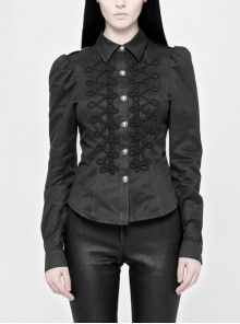 Front Retro Continuous Buttonhole Loop Long Sleeve Slit Cuff Black Gothic Twill Shirt