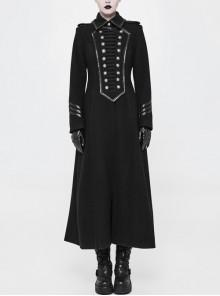 Front Chest Retro Plate Flower Buckle Metal Button Long Sleeve Back Waist Lace-Up Black Gothic Woolen Long Coat