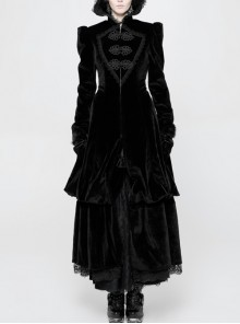 Stand-Up Lace Collar Front Chest Retro Plate Flower Buckle Back Waist Lace-Up Lace Hem Black Gothic Long Coat