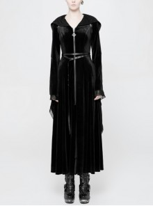 V-Neck Front Metal Zipper Leather Belt Flare Sleeve Lace Cuff Black Gothic Hooded Long Coat