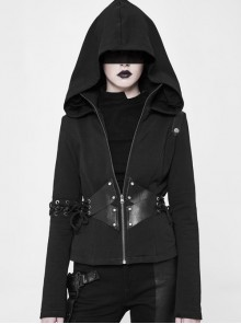 Stand-Up Collar Waist Splice Leather Lace-Up Long Sleeve Black Punk Hooded Cardigan Sweater