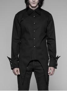 Front Metal Pattern Buckle Long Sleeve Sharp Corner Hem Black Gothic Shirt