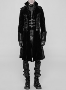 Stand-Up Collar Front Chest Metal Buckle Leather Strap Long Sleeve Black Punk Thickened Weft Velveteen Coat