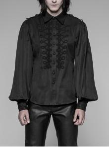 Front Retro Disc Buckles Shoulder Hasp Lantern Sleeve Black Gothic Shirt