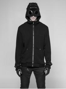 Leather Hasp Glasses Long Sleeve Black Punk Cashmere Hooded Coat
