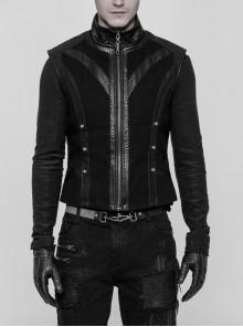 Stand-Up Collar Splice PU Leather Rivet Black Punk Twill Rough Vest