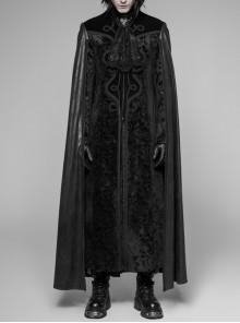 Stand-Up Collar Front Metal Decoration Long Sleeve Black Gothic Paisley Pattern Embossed Velvet Coat With Cloak