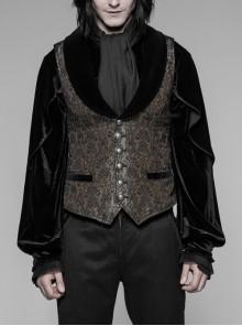 Brown Jacquard Splice Weft Velveteen Front Door Lapel Metal Button Gothic Vest