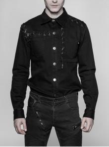 Metal Eyelets Lace-Up Long Sleeve Black Punk Coarse Bamboo Pure Cotton Shirt