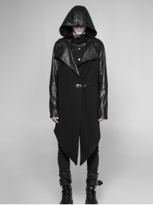 Stand-Up Collar Leather Hasp Long Sleeve Front Long Hem Black Punk Crack Knit Hooded Coat