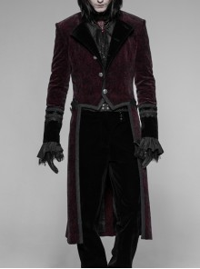 Stand-Up Collar Front Metal Button Irregular Swallow Tail Hem Wine Red Gothic Weft Velveteen Dress Coat