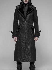Black Jacquard Stand-Up Collar Metal Button Shoulder Loop Punk Long Vest