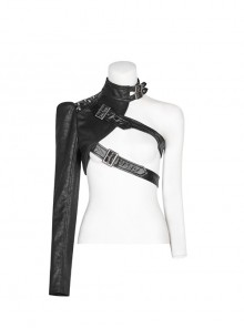 High Collar Metal Buckle Leather Strap Rivet One-Arm Black Punk Knitted Crack Accessory
