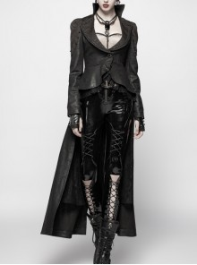 Front Metal Button Long Sleeve Lace Frill Back Waist Lace-Up Rear Long Hem Black Gothic Knitted Crack Coat