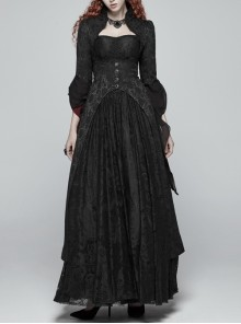 Black Jacquard High Collar Retro Button Back Waist Lace-Up Flared Sleeve Lace Cuff Gothic Long Coat