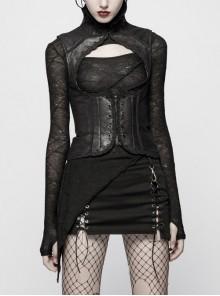 High Collar Front Metal Rivet Chest Hollow-Out Back Waist Lace-Up Black Punk Floral Vest