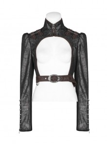 High Collar Front Zipper Long Sleeve Metal Buckle Brown Leather Belt Back Lace-Up Black Glossy Crack Punk Short Jacket