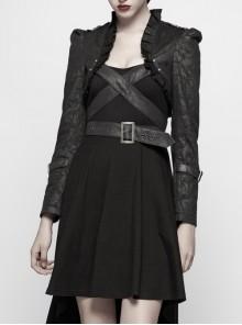 Black Dark Print Woven Frill Collar Front Chest Strap Metal Buckle Belt Black Punk Short Coat