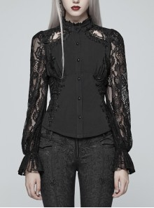 Black Jacquard High Collar Front Stereo Decals Lace Long Sleeve Back Waist Lace-Up Gothic Blouse