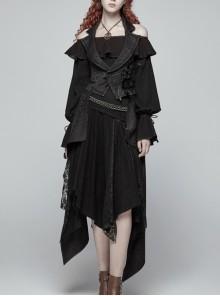 Black Jacquard Waist Solid Flower Decoration Backless Gothic Long Vest