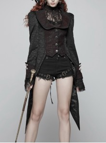 Stand-Up Collar Front Metal Retro Button Back Waist Lace-Up Rear Pendulum Dovetail Black Gothic Coat