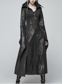 Stand-Up Collar Front Metal Zipper Flare Sleeve Sharp Corner Cuff Back Waist Lace-Up Black Three-Dimensional Bubble Jacquard Gothic Long CoatOther Accessories Are Not Include