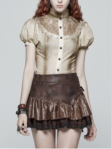 High Collar Front Chest Splice Lace Bubble Sleeve Metal Retro Button Back Waist Lace-Up White Gothic Inkjet Blouse