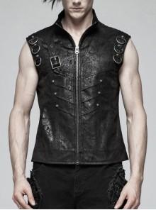 Stand-Up Collar Front Metal Buckle Black Punk Crack Woven Vest