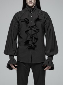 High Collar Metal Retro Button Front Chest Ruffle Lantern Sleeve Black Gothic Shirt