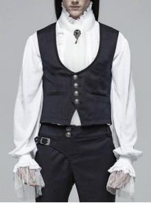 Dark Jacquard Front Metal Retro Button Back Waist Leather Hasp Grey Gothic Vest