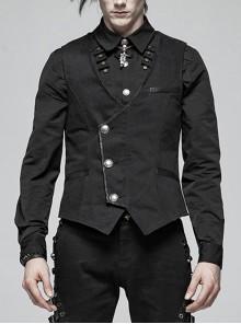 Asymmetrical Placket Metal Retro Button Back Waist Leather Hasp Black Punk Vest