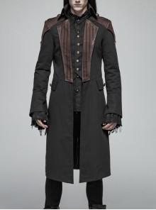 Fake Two-Piece Front Chest Metal Retro Button Splice Leather Flare Cuff Black Punk Mid Coat