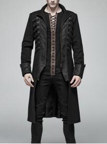 Stand-Up Collar Front Chest Metal Retro Button Zipper Cuff Black Punk Coat