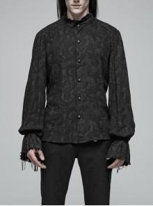 High Collar Metal Retro Button Lantern Sleeve Burrs Cuff Black Gothic Printing Shirt