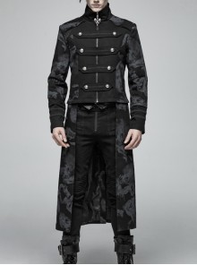 Stand-Up Collar Front Chest Weave Strap Metal Button Black Punk Twill Dragon Totem Print Coat