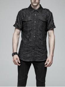 Metal Retro Button Splice Hand Rub Leather Shoulder Metal Ring Strap Black Punk Denim Short Sleeve Shirt