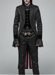 Fake Two-Piece Stand-Up Collar Front Chest Button Swallowtail Hem Black Gothic Pattern Jacquard Splice Weft Velveteen Coat