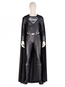 Zack Snyder's Justice League Superman Clark Kent Black Battle Suit Halloween Cosplay Costume Full Set