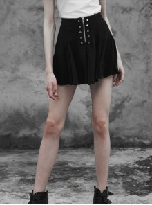 Steam Punk Female Chiffon Metal Zipper Button Pleated Skirt