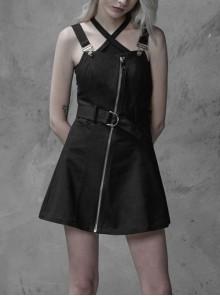 Steam Punk Female Black High Waist Metal Zipper Strap Dress
